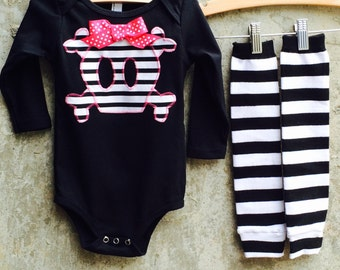 Girls Halloween Skull Baby Bodysuit or Kids Shirt, Leg/Arm Warmer Set - Fun Costume or Photo Shoot Outfit - Great Birthday or Shower Gift
