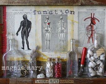 The Making of Paper Anatomy. Original Mixed Media Collage. 16x11