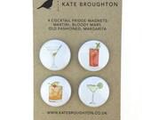 cocktail fridge magnets (set of four)