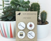 craft pin back button badges (set of four)