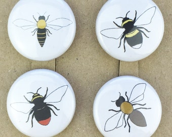 bee pin back button badges (set of four)