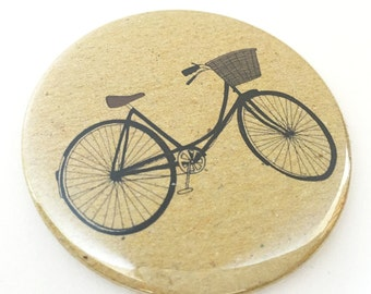 Bicycle pocket mirror - illustrated bike compact - retro bicycle gift