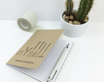Garden notebook (with recycled squared paper) A6 pocket size - garden tools notepad - gift for gardener - allotment / gardening gift
