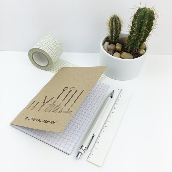 garden pocket notebook (100% recycled with squared paper) A6