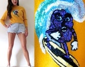 Vintage 60s 70s Surfs Up California Raisin Sequin Applique Yellow Wool Cropped Sweater (size xs, small)