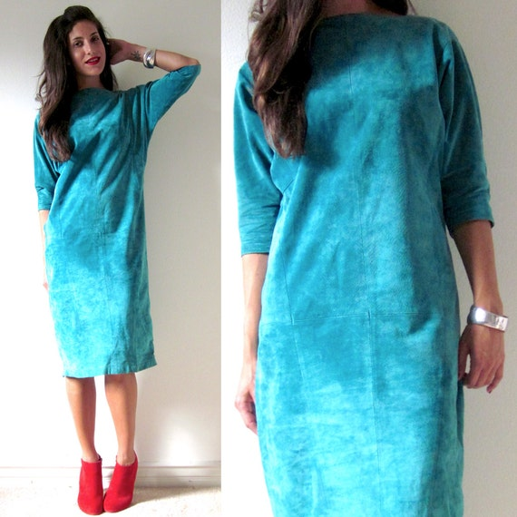 SALE SECTION / 50% off Vintage 80s 90s Teal Suede Leather Batwing Sleeve Dress (size xs, small)