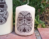 Sugar Skull, Day of the Dead Stormtrooper 2x3 Pillar Candle