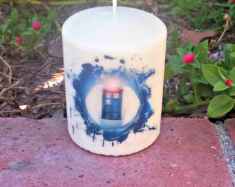 Dr. Who Splash 3 x 4 Pillar Candle