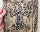 Ceramic Tree Wall Hanging, Clay Tree of Life Plaque, Love Earth Tree, Nature, Earth Forest Tile, Pottery Decor, Art Ceramic