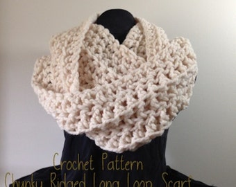 Crochet Scarf Pattern, Chunky Long Loop Infinity Oversize Scarf Cowl