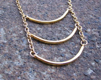 Eco-Friendly Minimalist Ladder Necklace - Slow, Curves Ahead - Recycled Vintage Goldtone Metal Chain (with clasp) and Curved Bars
