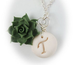 Personalized Succulent Initial Necklace - Succulent Jewelry