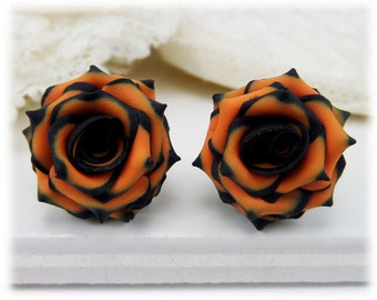 Black Tip Orange Rose Earrings Stud or Clip On - Black and Orange Earrings