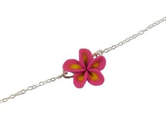 Plumeria Sterling Silver Anklet or Bracelet -  Plumeria Ankle Bracelet Jewelry