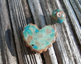 Handmade Teal and Copper Brown Ceramic Scalloped Heart Bead Set