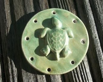 Handmade Patina Green Ceramic Turtle Pine Needle Basket Base