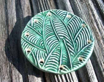Handmade Emerald Green Ceramic Leaf Imprinted Pine Needle Basket Base