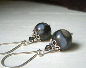 Coconut Fossil Earrings, Sterling Silver Dangle, Chubby Round Gemstone Earrings, Blue Black Earrings, Gemstone Dangles