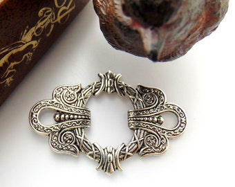 SILVER (2 Pieces) Art Deco Focal Celtic Stamping - Jewelry Antique Silver Findings (E-4) #