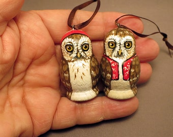 Owl Christmas Ormanents Pair of Hanging owls