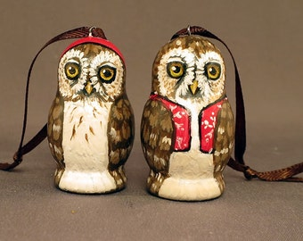 Little Owl Hanging Ornaments Pair
