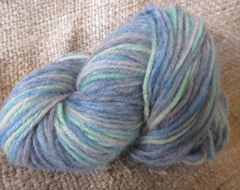 Hand Dyed Variegated Ocean Colors Wool Yarn, 4 Ply, 112 Yds.Worsted Weight, Fiber Art By Susan Every