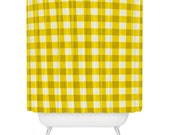 Yellow Gingham Shower Curtain