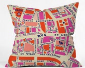 Paris Map Pink Throw Pillow