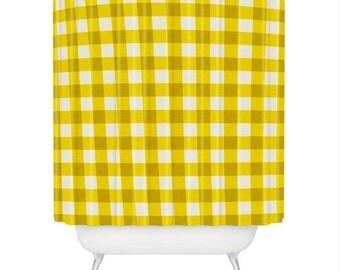 Yellow Gingham Shower Curtain