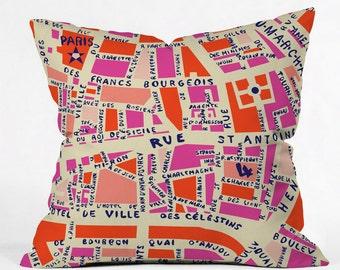 Paris Map Pink Throw Pillow