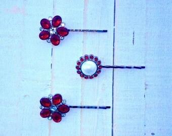 Bridal Hair Pins Pearl Hair Pins Pearl Bridal Bobby Pins Rhinestone Bobby Pins Wedding Hair Pins Bridesmaid Hair Pins Red Gifts for Her