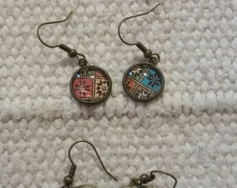 3 Pair of Earrings Antique Gold Finish.