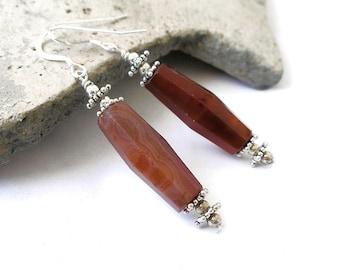 Red Carnelian Earrings Trade Bead Ethnic Boho Jewelry For Women