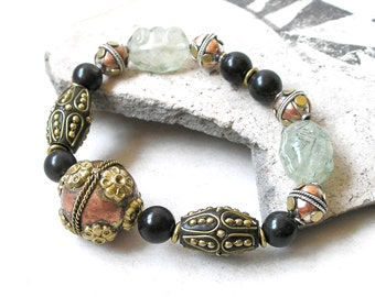 Mixed Metals Gemstone Bracelet- Boho Ethnic Beaded Stretch Bracelet- Carved Prehnite, Black Onyx, Kashmiri Beads