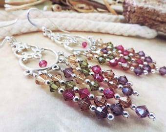 SALE Long Chandelier Vineyard Swarovski Crystal Sterling Silver Earrings with Purple Pink Green Gold Tan and Brown