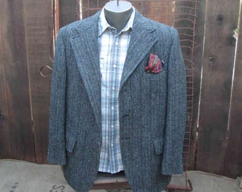 Gray Vintage 50s Harris Tweed Jacket Gray Herrringbone black tweed Jacket Harris Tweed stripe wool coat M L