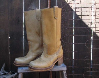 Vintage Buckskin Boots Vintage Leather Square Toe campus style boots boho tan boots Cowboy motorcycle 7 6 D