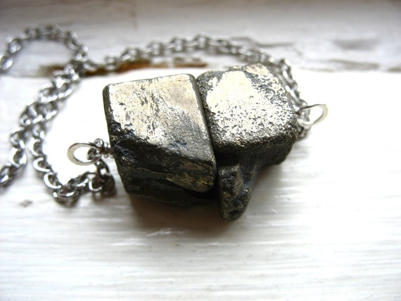Pyrite Necklace, Pyrite Stone Necklace, Fools Gold Stone Chain Pendant Necklace, Handmade Jewelry, Gemstone Jewelry