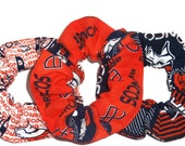Denver Broncos Fabric Hair Scrunchie Orange Navy Blue White NFL Football Scrunchies by Sherry