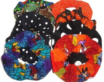 Halloween Hair Scrunchie Pumpkins Disney Mickey Mouse Dots Camo Skulls Scrunchies by Sherry Ponytail Holders