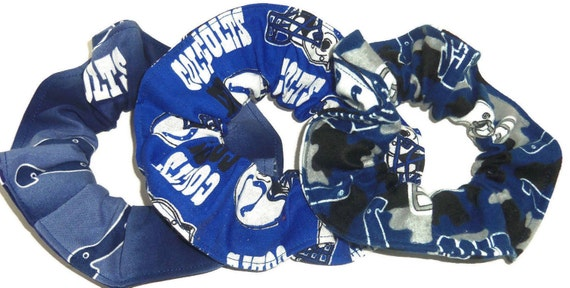 Indianapolis Colts Hair Scrunchie NFL Football Fabric Scrunchies by Sherry Ponytail Holders Ties Blue