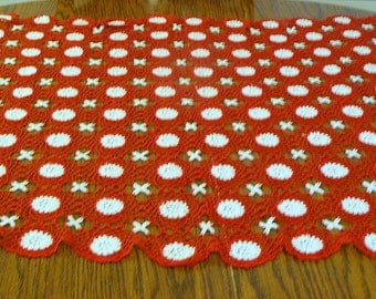 Vintage Handmade Red and White Crochet Table Topper - 43 x 31 inches - Very Pretty and Unique