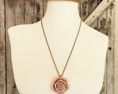 Nude Rose Pendant Statement Necklace ~ Gift for Glamour Girl ~ Romantic Country Chic Flower Jewelry ~ Botanical Floral Accessory Gift