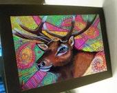 greeting card print of original art-elk Zentangle