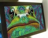 greeting card print of original art-frog Zentangle