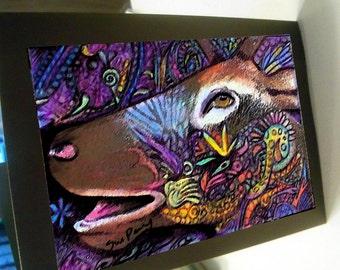 greeting card print of original art-elk call Zentangle