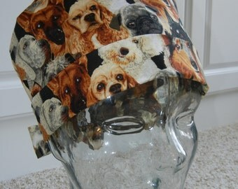 Tie Back Surgical Scrub Hat with Dogs Allover