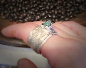 in the enchanted emerald forest eco silver ring with 0.80 ct Columbian emerald crystal size 7 1/2