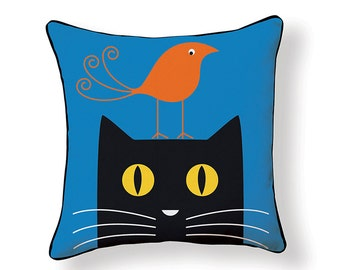 Red Bird on Black Cat Pillow