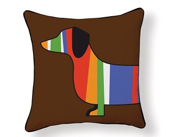Color Stripped Dachshund Pillow